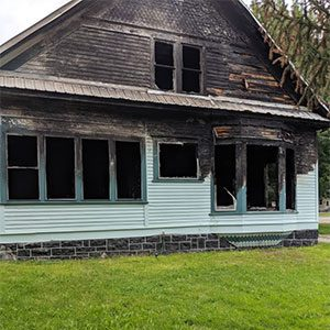 Home in Boise that had a fire and will require extensive Boise fire damage restoration
