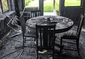 Boise house fire burnt table chairs and burned out kitchen