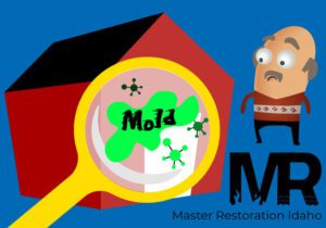 Man looking at magnifying glass showing mold in front of his house with the Master Restoration Idaho logo