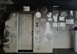 Smoke damaged garage from house fire in Boise Idaho