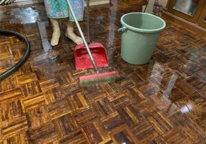 home floor covered with water