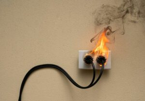 Fire coming from a light socket